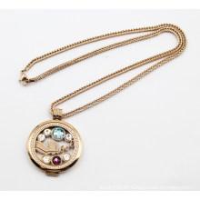 Heiße Verkaufs-Rosen-Gulden-Edelstahl-schwimmende Locket-hängende Halskette