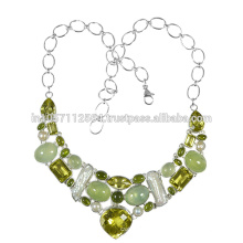 Prehnite Lemon Quartz Idocrase Pearl Gemstone & Sterling Silver Handmade Necklace Jewelry
