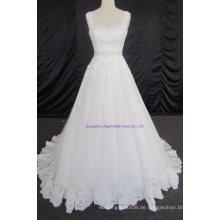 Tüll geraffte asymmetrische bescheiden Brautkleid
