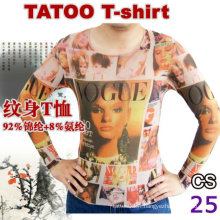 T-shirt à tatouage à manches longues 2016 hot sale ladies