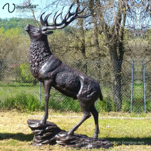 Garden Decoration high quality bronze life size elk garden art sculpture