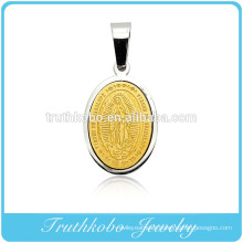 Custom Made Religious Graceful Small 24K Gold Virgin Mary Pendant Dubai Stainless Steel Jewelry Pendant