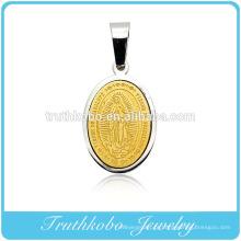 Custom Made Religiosa Graciosa Pequeno 24 K Ouro Virgem Maria Pingente Dubai Aço Inoxidável Pingente de Jóias