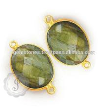 Connecteurs en pierres naturelles Vermeil, connecteurs en lunette gemme