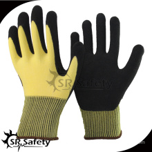 SRSAFETY 2016 15 guage yellow safety work gloves, hand cotton knitted gloves for sale