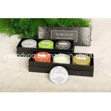 Conjunto de velas de lata perfumado de presente de Natal orgânico cera de soja