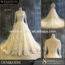 100% echte Fotos nach Maß lange Hülse Spitze Hochzeitskleid, billige Brautjungfer Kleider