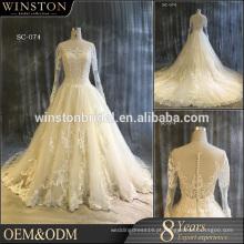 100% de fotos reais Custom made vestido de noiva de renda longa, vestidos baratos de dama de honra