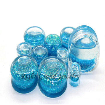 00 Gauge Light Blue Acryl Liquid Glitter Ohrstöpsel