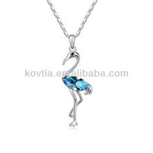 Vente en gros d'ailes de poulet élégant collier pendentif oiseau Collier en cristal de saphir bleu