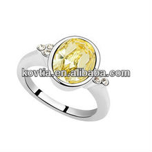 Wholesale white gold jewelry charm yellow crystal diamond ring