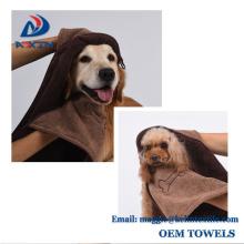 100% Poliester Dog Washing Hooded Towel, Microfiber Chenile Pet Towel