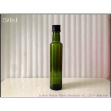 250ml Dark Green Round Shape Glass Bottles for Olive Oil with Lid