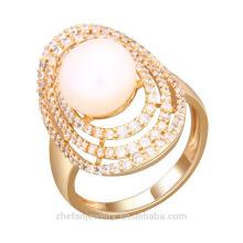 Dernières zircon bagues bijoux grand placage de pierre or blanc échantillon du marché anneau