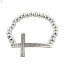 Bracelets croisés de mens de promotion, bijoux argentés de bracelet de croix d'hommes de christian
