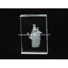 Mother Mary Sculpture Internally Engraved in Crystal for Christian (R3012)