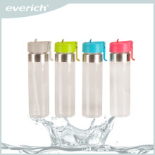 600ml glass sport drinking water bottle with straw and PP sport cap