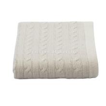 15JWS0719 100% cashmere cable knitted cobertor de viagem cobertor de praia