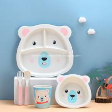 Children's Bamboo Tableware Cute Animal Dinnerware