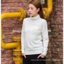 suéter de cuello alto de mujer de punto de cachemira