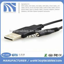 Usb para 3,5 mm adaptador de cabo estéreo para MP3 Mp4