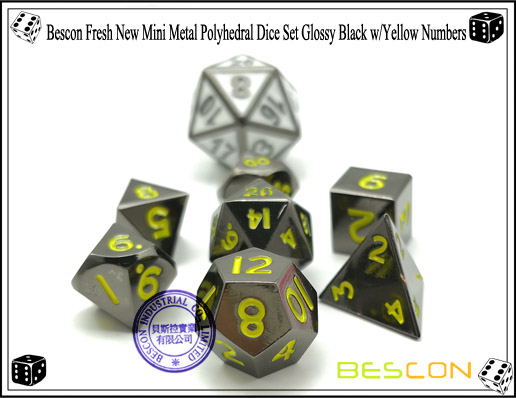 Bescon Fresh New Mini Metal Polyhedral Dice Set Glossy Black with Yellow Numbers-7