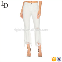 White Washed slim pencil pants ripped denim for women