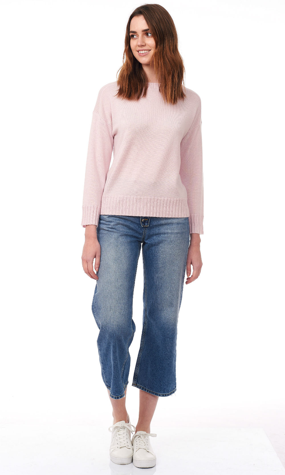 pink cropped round neck sweater front