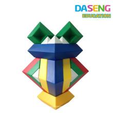 Los niños de plástico de apilamiento cuadrado bloque de construcción juguetes triángulo conjunto de rompecabezas