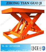 Fixed hydraulic scissor lift platform used for cargo goods delivery