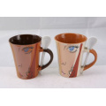 Coffee Ceramic Mug with Spoon