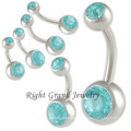 14G Non Dangle Jet CZ Gem Initial Belly Button Rings