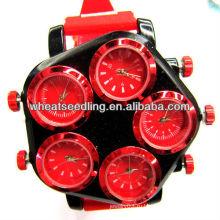 Часы с цветочным узором для нескольких голов разных времен в мире Силиконовые браслеты Jewerlry Часы JW-18