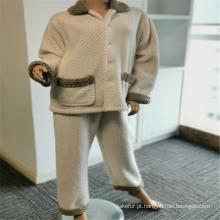 Pijama de lapela 100% poliéster escovado bolsos