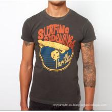 Camiseta de encargo de los hombres de la camiseta de algodón de la impresión de pantalla de encargo del gris
