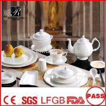 Plaques de porcelaine blanches en gros et durables pour la banquette restaurant