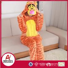 Nuevo diseño lovely animal tigre franela polar pijama adulto onesie