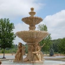 Pierre chinoise sculpture haute qualité fontaine d'eau avec statue de dame