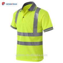 Venta al por mayor de manga corta reflectante Hola Vis Safety Polo Shirt trabajo de construcción alta visibilidad humedad Wicking camiseta