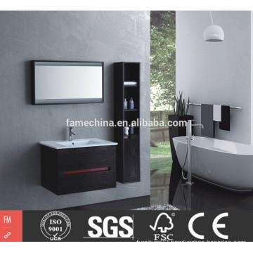 Hot sell wood veneer tall bathroom vanity with side cabinet