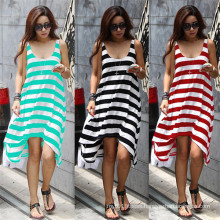 Hot Sale Women Fashion Irregular Strips Casual Beach Dress