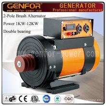 1-12kVA Doble rodamiento alternador instalar con la correa para el generador diesel, máquina de compresor