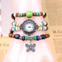 Venta de reloj de pulsera hecho a mano, Reloj de pulsera de estudiantes, reloj de pulsera de cuentas de mariposa de señoras BWL052