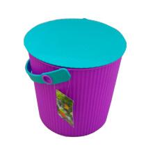 Cubo de almacenamiento de plástico púrpura con mango (b05-6668)