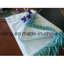 Tiro de espiga de algodón puro tejido con flecos