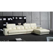 Mobiliario de hogar estilo de ocio sofá de cuero blanco salón KW341