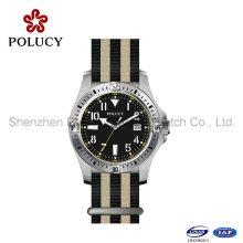 Reloj de cuarzo del deporte de la hebilla del acero inoxidable del reloj de la venda del nilón del OEM