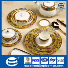royal golden table dishes and plates porcelain Ware dinner set