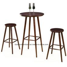 Table et chaise bon marché simple en bois solide pour la barre