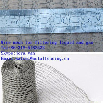 Wire mesh for filtering liquid and gas